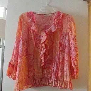 Orange print CATO  blouse med size